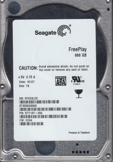 ST9888430AS, 9YE, TK, PN 9TY14Y-550, FW CC94, Seagate 888GB SATA 2.5 Hard Drive
