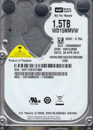 WD15NMVW-11W68S0, DCM HBCVJBBB, Western Digital 1.5TB USB 2.5 Hard Drive