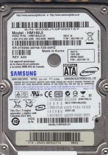 HM160JI, HM160JI/D, FW AD100-12, M80S, Samsung 160GB SATA 2.5 Hard Drive