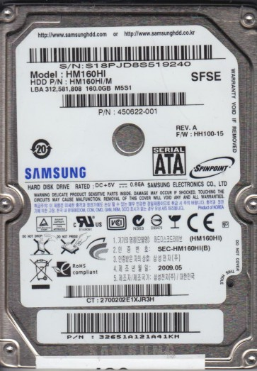 HM160HI, HM160HI/M, FW HH100-15, Samsung 160GB SATA 2.5 Hard Drive