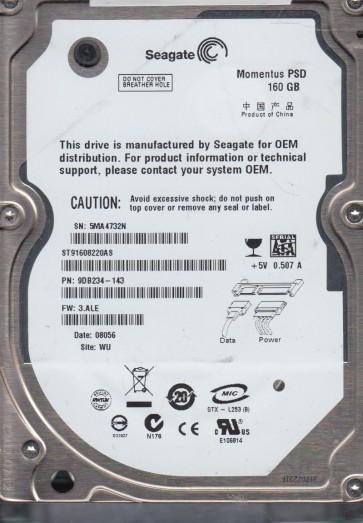 ST91608220AS, 5MA, WU, PN 9DB234-143, FW 3.ALE, Seagate 160GB SATA 2.5 Hard Drive