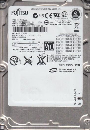 MHV2120BH PL, PN CA06672-B29600SN, Fujitsu 120GB SATA 2.5 Hard Drive