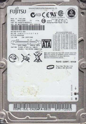 MHV2100BH, PN CA06672-B40500LG, Fujitsu 100GB SATA 2.5 Hard Drive