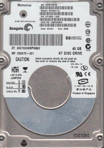 ST94011A, 3KW, AMK, PN 9Y1002-030, FW 3.06, Seagate 40GB IDE 2.5 Hard Drive