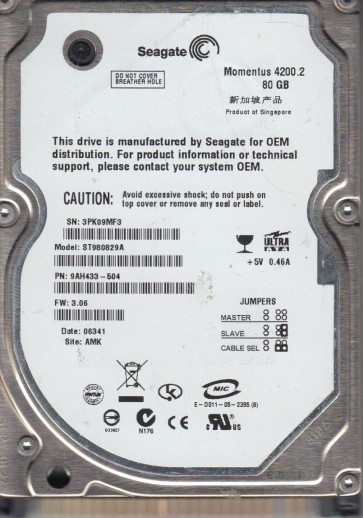 ST980829A, 3PK, AMK, PN 9AH433-504, FW 3.06, Seagate 80GB IDE 2.5 Hard Drive