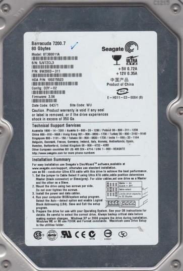 ST380011A, 5JV, WU, PN 9W2003-311, FW 3.06, Seagate 80GB IDE 3.5 Hard Drive