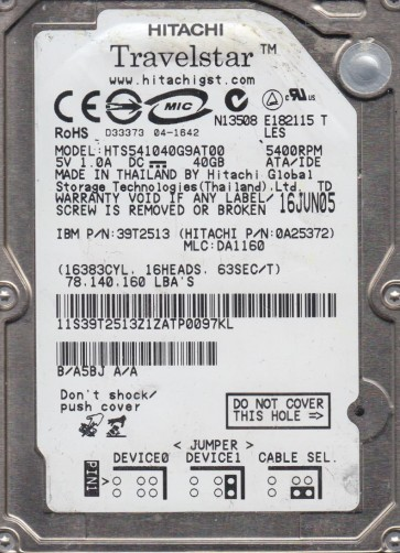 HTS541040G9AT00, PN 0A25372, MLC DA1160, Hitachi 40GB IDE 2.5 Hard Drive