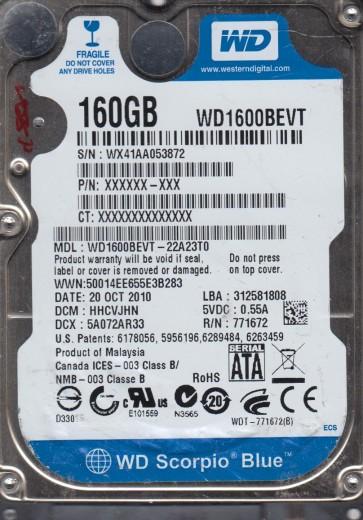 WD1600BEVT-22A23T0, DCM HHCVJHN, Western Digital 160GB SATA 2.5 Hard Drive