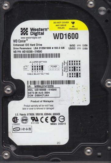 WD1600SB-01KBA0, DCM DSBHCTJAH, Western Digital 160GB IDE 3.5 Hard Drive