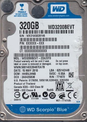 WD3200BEVT-22A23T0, DCM HHBVJHNB, Western Digital 320GB SATA 2.5 Hard Drive