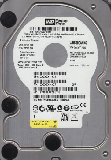 WD5000AAKS-65TMA0, DCM HANCHV2AAB, Western Digital 500GB SATA 3.5 Hard Drive