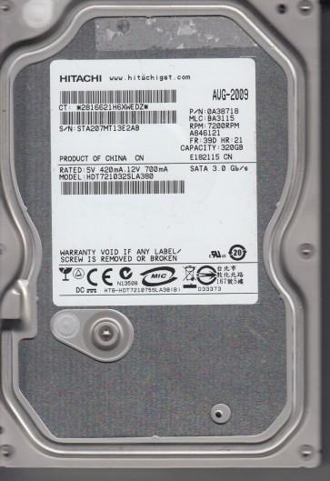 HDT725040VLA360, PN 0A33664, MLC BA2364, Hitachi 400GB SATA 3.5 Hard Drive