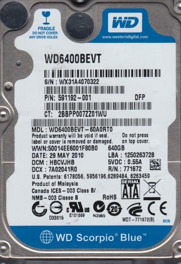 WD6400BEVT-60A0RT0, DCM HBCVJHB, Western Digital 640GB SATA 2.5 Hard Drive
