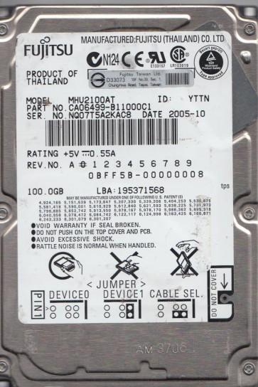 MHU2100AT, PN CA06499-B11000C1, Fujitsu 100GB IDE 2.5 Hard Drive