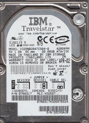 IC25N020ATCS04-0, PN 07N9317, MLC H32687, IBM 20GB IDE 2.5 Hard Drive