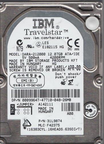 DARA-212000, PN 31L9874, MLC F42375, IBM 12GB IDE 2.5 Hard Drive