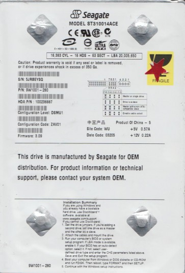 ST310014ACE, 5JR, WU, PN 9W1001-280, FW 3.09, Seagate 10GB IDE 3.5 Hard Drive