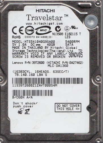 HTS541040G9SA00, PN 0A27462, MLC DA1360, Hitachi 40GB SATA 2.5 Hard Drive