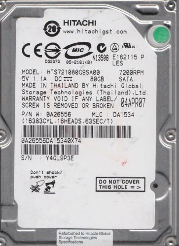 HTS721080G9SA00, PN 0A26556, MLC DA1534, Hitachi 80GB SATA 2.5 Hard Drive