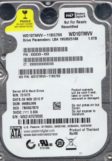 WD10TMVV-11BG7S0, DCM HHBVJHN, Western Digital 1TB USB 2.5 Hard Drive