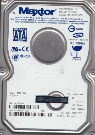 6L200M0, Code BACE1G10, KMBA, Maxtor 200GB SATA 3.5 Hard Drive