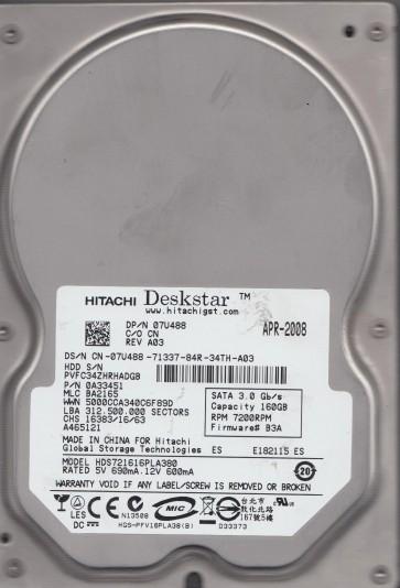HDS721616PLA380, PN 0A33451, MLC BA2165, Hitachi 160GB SATA 3.5 Hard Drive