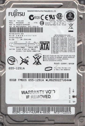 MHV2080BH, PN CA06672-B38400AP, Fujitsu 80GB SATA 2.5 Hard Drive