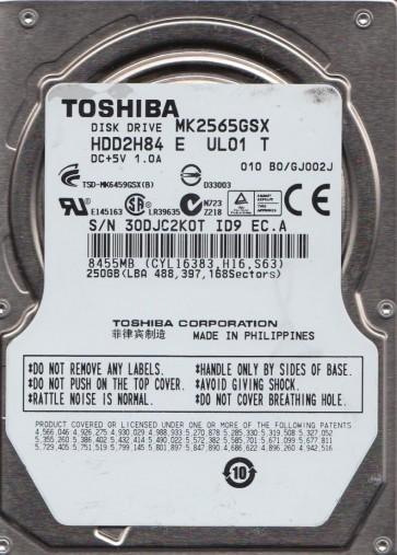 MK2565GSX, B0/GJ002J, HDD2H84 E UL01 T, Toshiba 250GB SATA 2.5 BSectr HDD