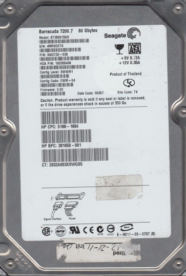 ST380819AS, 4MR, TK, PN 9W2732-030, FW 3.02, Seagate 80GB SATA 3.5 Hard Drive