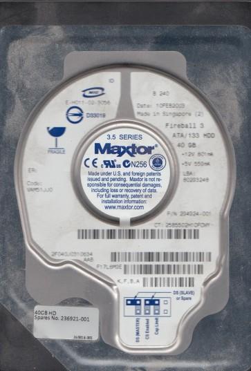 2F040J0, Code VAM51JJ0, KFBA, Maxtor 40GB IDE 3.5 Hard Drive