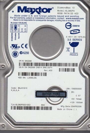6L080P0, Code BAJ41G10, KMGA, Maxtor 80GB IDE 3.5 Hard Drive