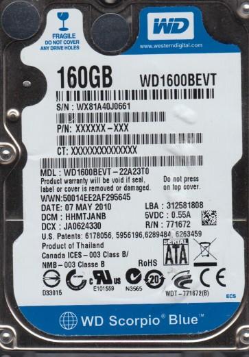 WD1600BEVT-22A23T0, DCM HHMTJANB, Western Digital 160GB SATA 2.5 Hard Drive