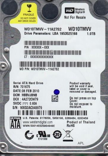 WD10TMVV-11A27S2, DCM HBBVJBNB, Western Digital 1TB USB 2.5 Hard Drive