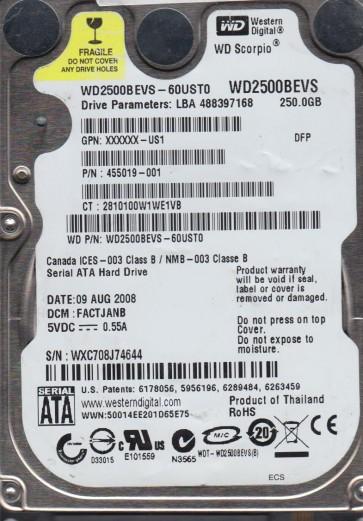 WD2500BEVS-60UST0, DCM FACTJANB, Western Digital 250GB SATA 2.5 Hard Drive