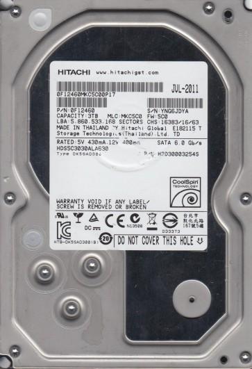 HDS5C3030ALA630, PN 0F12460, MLC MKC5C0, Hitachi 3TB SATA 3.5 Hard Drive