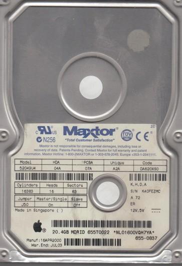 52049U4, Code DA620XS0, KHDA, Maxtor 20.4GB IDE 3.5 Hard Drive