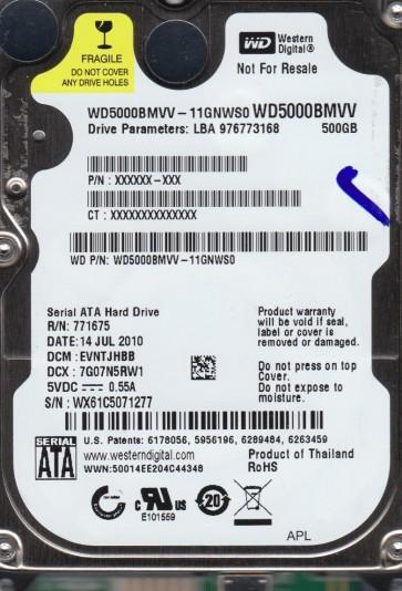 WD5000BMVV-11GNWS0, DCM EVNTJHBB, Western Digital 500GB USB 2.5 Hard Drive