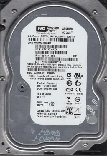 WD400BD-60LRA5, DCM DBCANTJCH, Western Digital 40GB SATA 3.5 Hard Drive