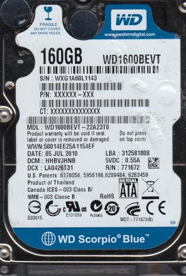 WD1600BEVT-22A23T0, DCM HHBVJHNB, Western Digital 160GB SATA 2.5 Hard Drive