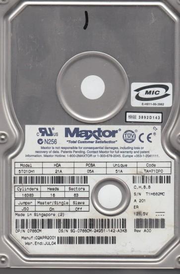 5T010H1, Code TAH71DP0, CHBB, Maxtor 10.2GB IDE 3.5 Hard Drive
