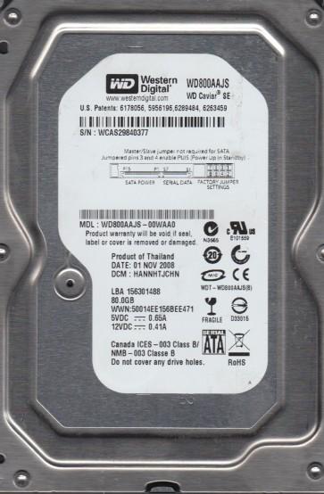 WD800AAJS-00WAA0, DCM HANNHTJCHN, Western Digital 80GB SATA 3.5 Hard Drive