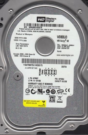 WD800JD-08MSA1, DCM DSCHNTJCH, Western Digital 80GB SATA 3.5 Hard Drive