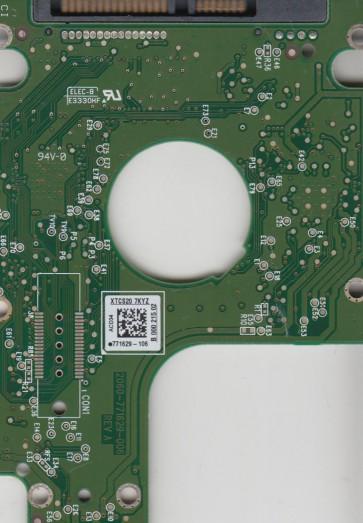 WD5000BPKX-75HPJT0, 771629-106 AK, WD SATA 2.5 PCB