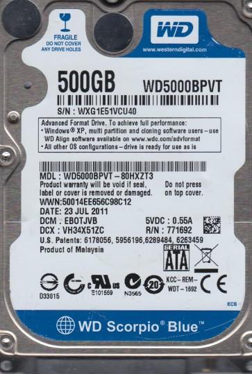 WD5000BPVT-80HXZT3, DCM EBOTJVB, Western Digital 500GB SATA 2.5 Hard Drive