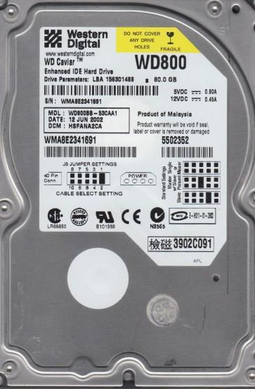 WD800BB-53CAA1, DCM HSFANA2CA, Western Digital 80GB IDE 3.5 Hard Drive