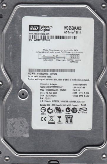 WD2500AAKS-00VSA0, DCM EGRCNV2AG, Western Digital 250GB SATA 3.5 Hard Drive
