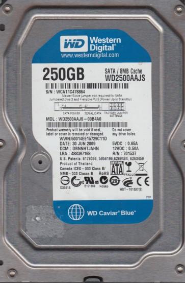 WD2500AAJS-00B4A0, DCM DBNNHTJAHN, Western Digital 250GB SATA 3.5 Hard Drive