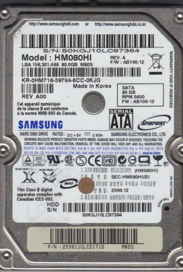 HM080HI, HM080HI, FW AB100-12, M80S, Samsung 80GB SATA 2.5 Hard Drive
