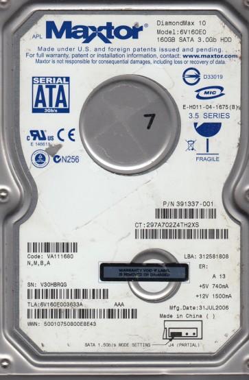 6V160E0, Code VA111680, NMBA, Maxtor 160GB SATA 3.5 Hard Drive
