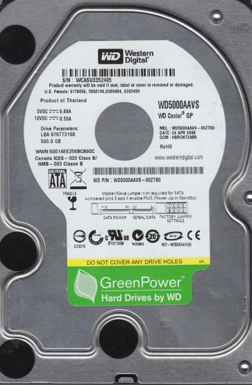 WD5000AAVS-00ZTB0, DCM HBRCNT2ABB, Western Digital 500GB SATA 3.5 Hard Drive